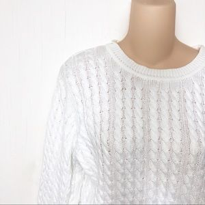 Mark, Fore, & Strike Cable Knot White Golf Sweater